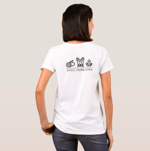 T-Shirt Damen - Stock.Hund.Stein weiß